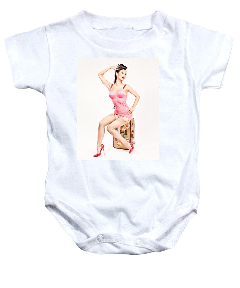 Pinup Photography Baby Onesie featuring the photograph Jade Vixen Bubblegum 1076 by Gary Heller