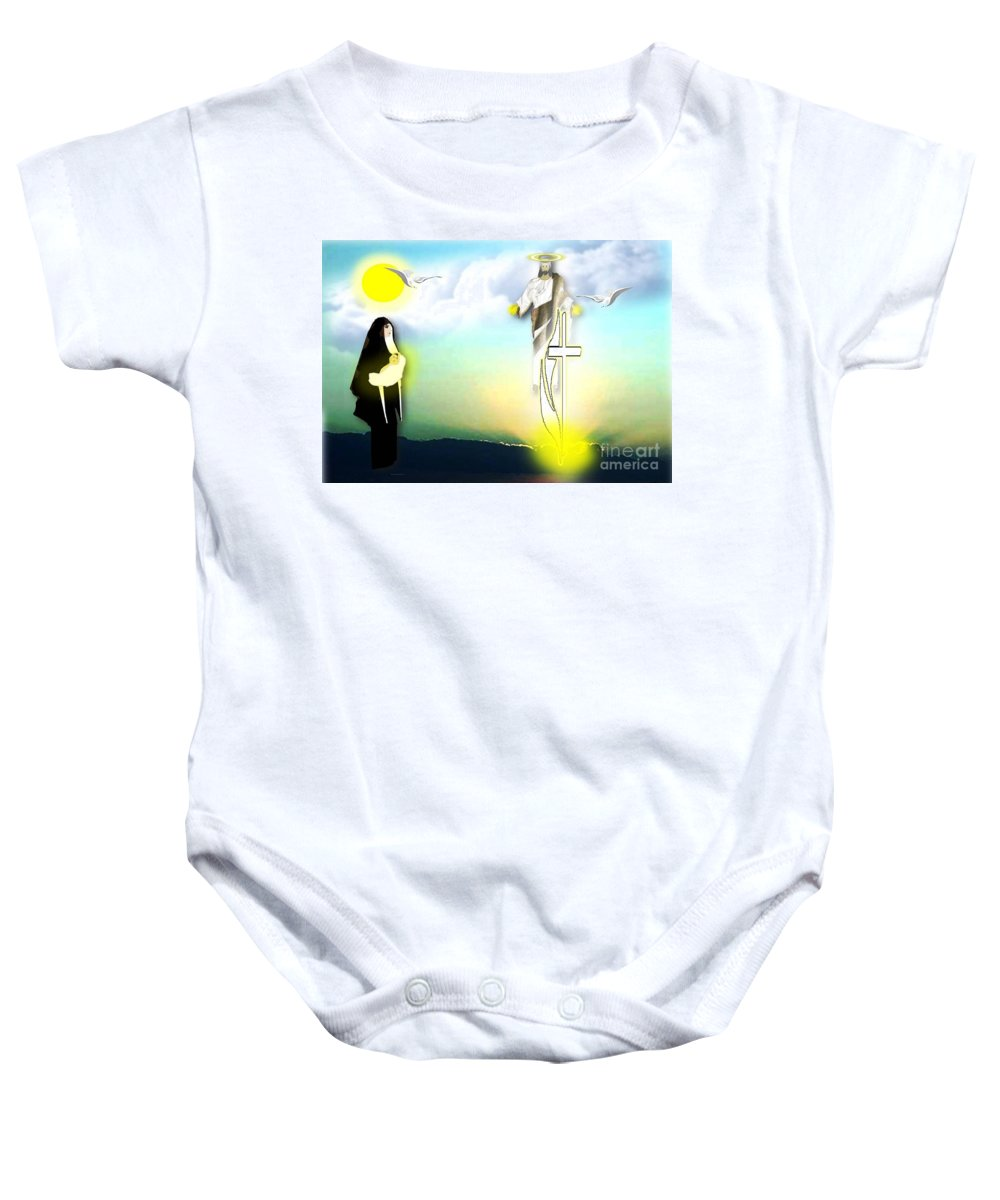 Religion Baby Onesie featuring the digital art Jesus Journey by Belinda Threeths
