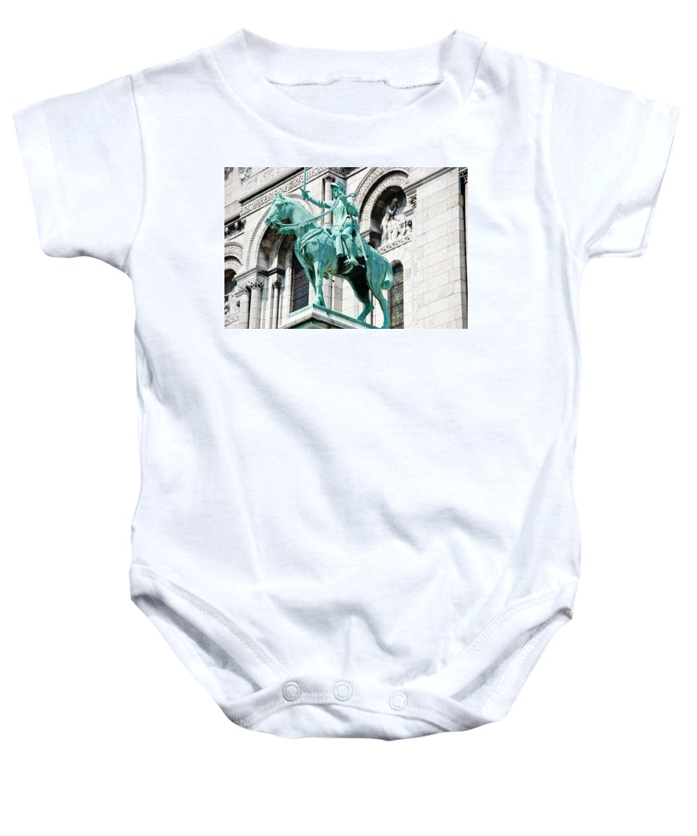 France Baby Onesie featuring the photograph Joan Of Arc At Sacre Coeur Basilica Paris France by Jon Berghoff
