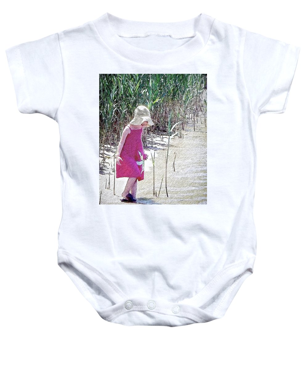 2d Baby Onesie featuring the photograph Khloe - Pencil Effect by Brian Wallace