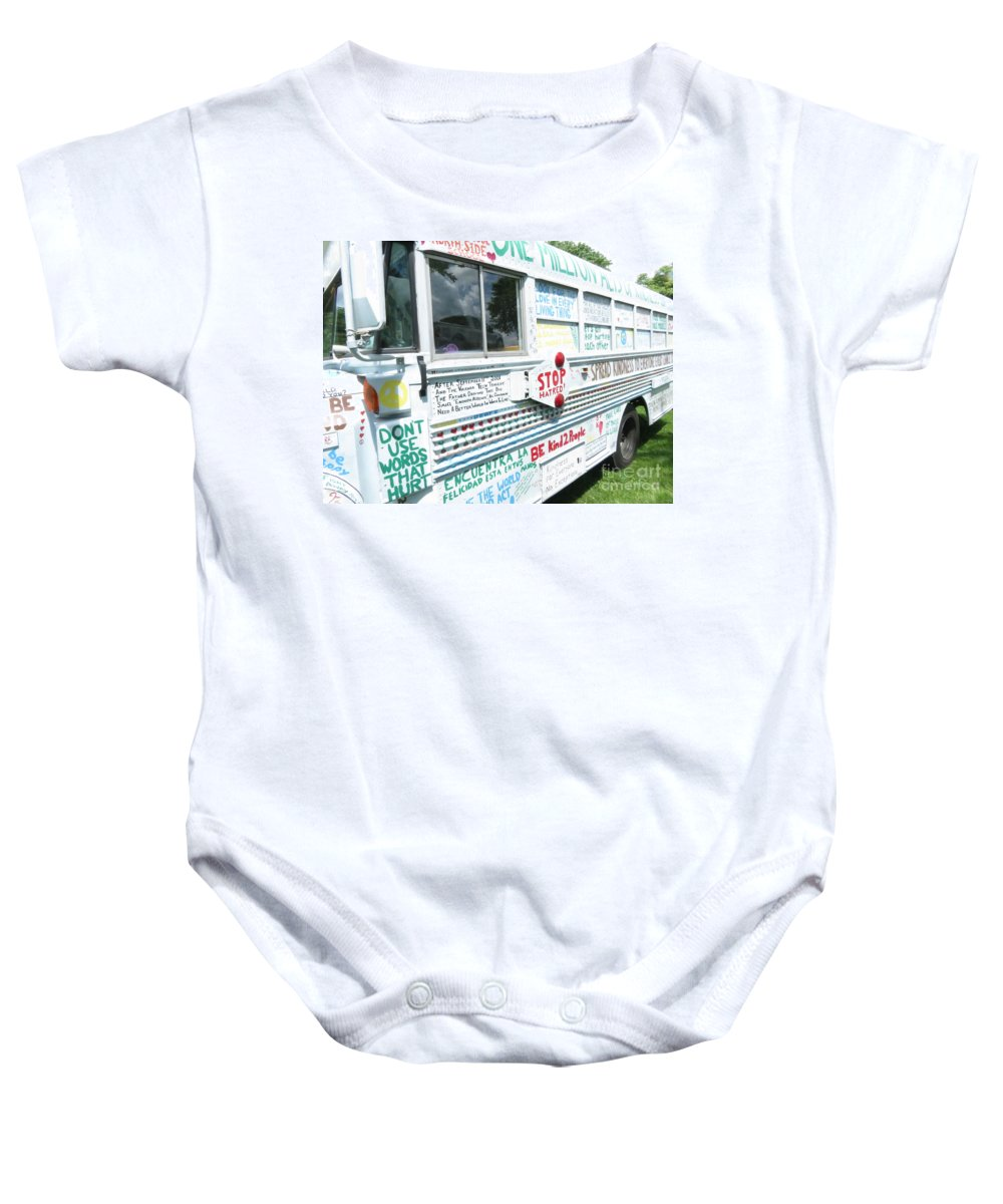 One Baby Onesie featuring the photograph Kindness Bus 8 by Art Dingo