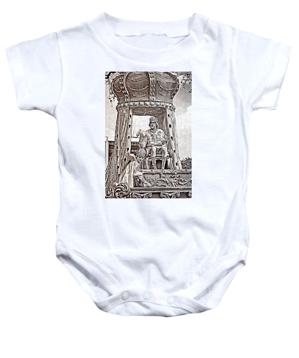 Painted Baby Onesie featuring the photograph King Of Rex - Painted Bw by Kathleen K Parker