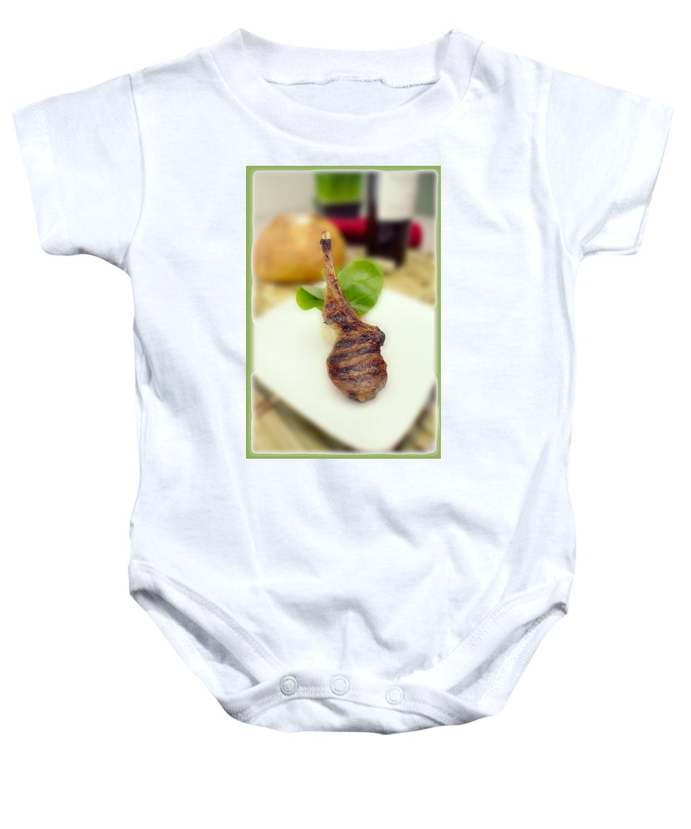 Lamb Chop Baby Onesie featuring the photograph Lamb Chop One by Mike Penney