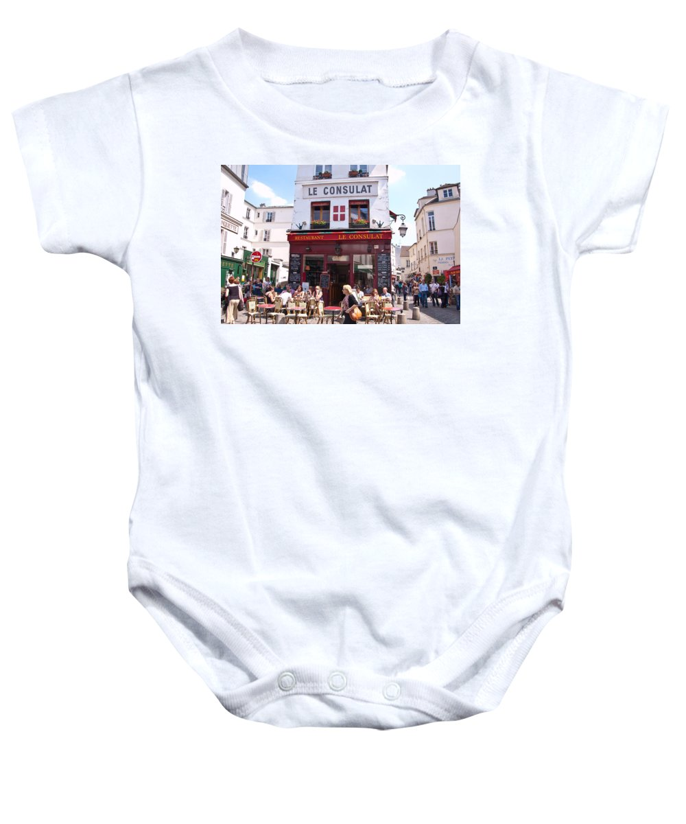 France Baby Onesie featuring the photograph Le Consulat Cafe by Jon Berghoff