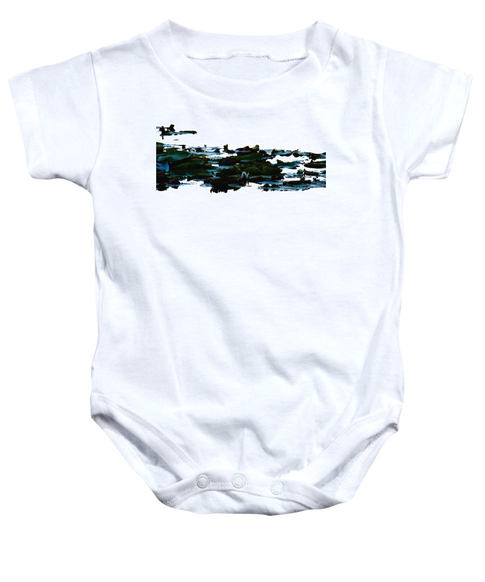 Lily Pad Baby Onesie featuring the photograph Lily Pads On White Water by Marie Jamieson