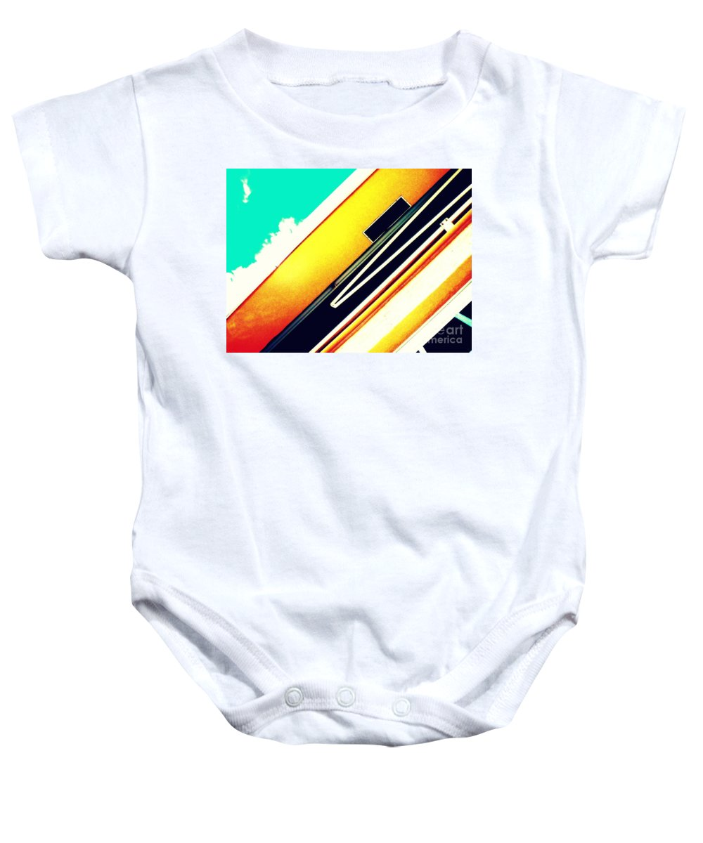 Abstract Baby Onesie featuring the photograph Lines Of The Overhang by Samantha Glaze