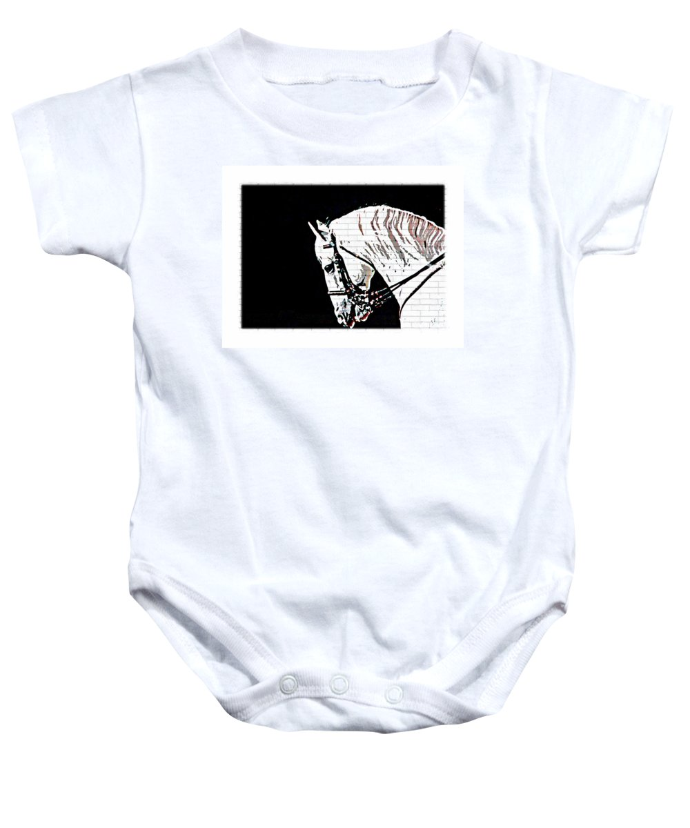 White Lippizan Horse Head Baby Onesie featuring the photograph Lippizan by Alice Gipson