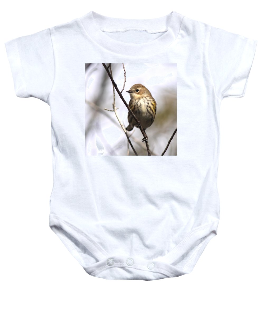 Yellow-rumped Warbler Baby Onesie featuring the photograph Little Speckled Bird by Travis Truelove