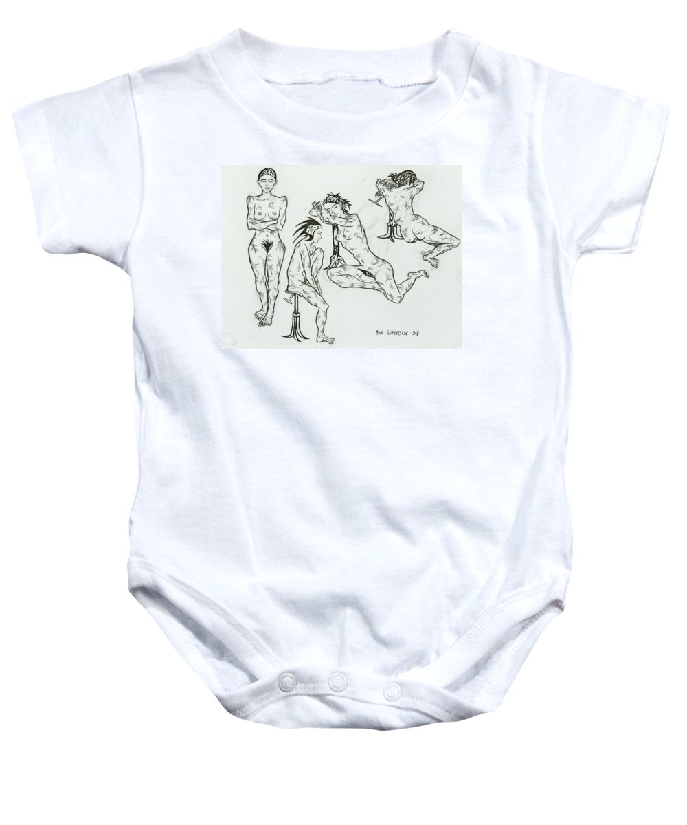 Live Nude Baby Onesie featuring the painting Live Nude 23 Female by Robert SORENSEN