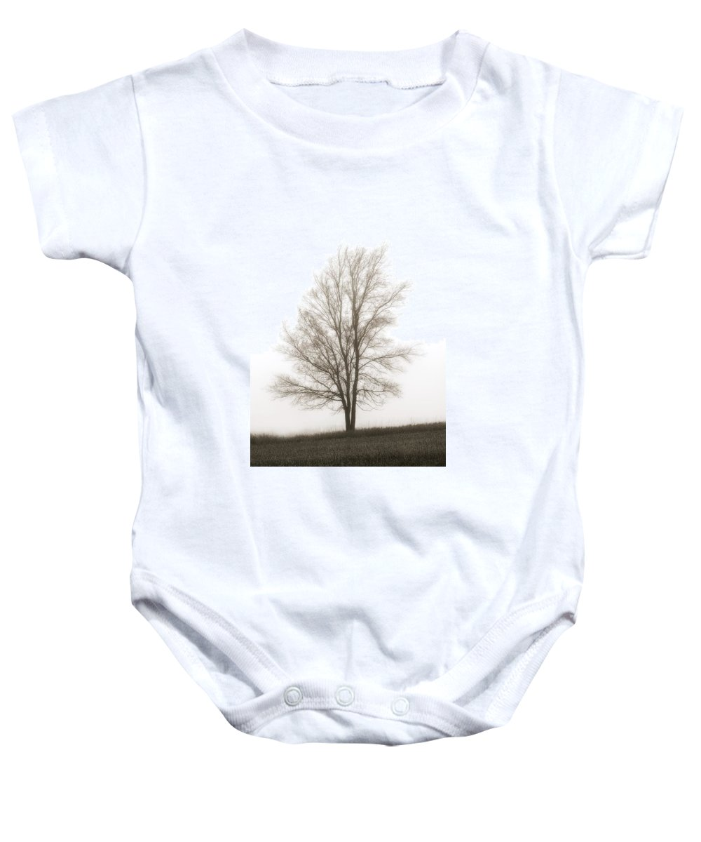 Canada Baby Onesie featuring the photograph Lone Tree In The Mist by Chris Knorr