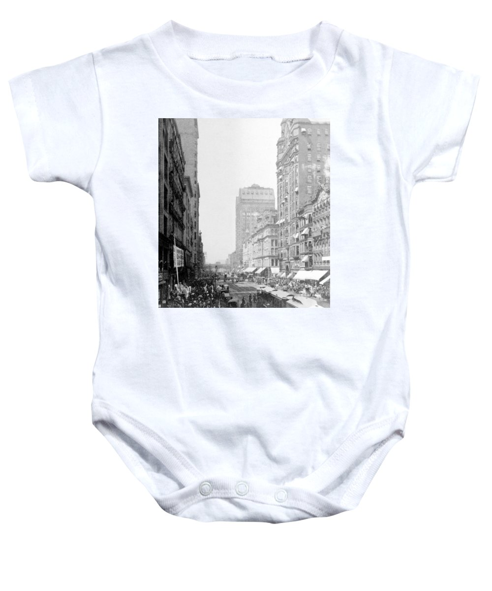chicago Illinois Baby Onesie featuring the photograph Looking Down State Street - Chicago - C 1897 by International Images