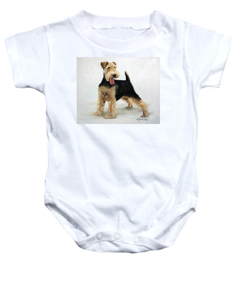 Art Baby Onesie featuring the painting Looking For Fun by Mary Sparrow