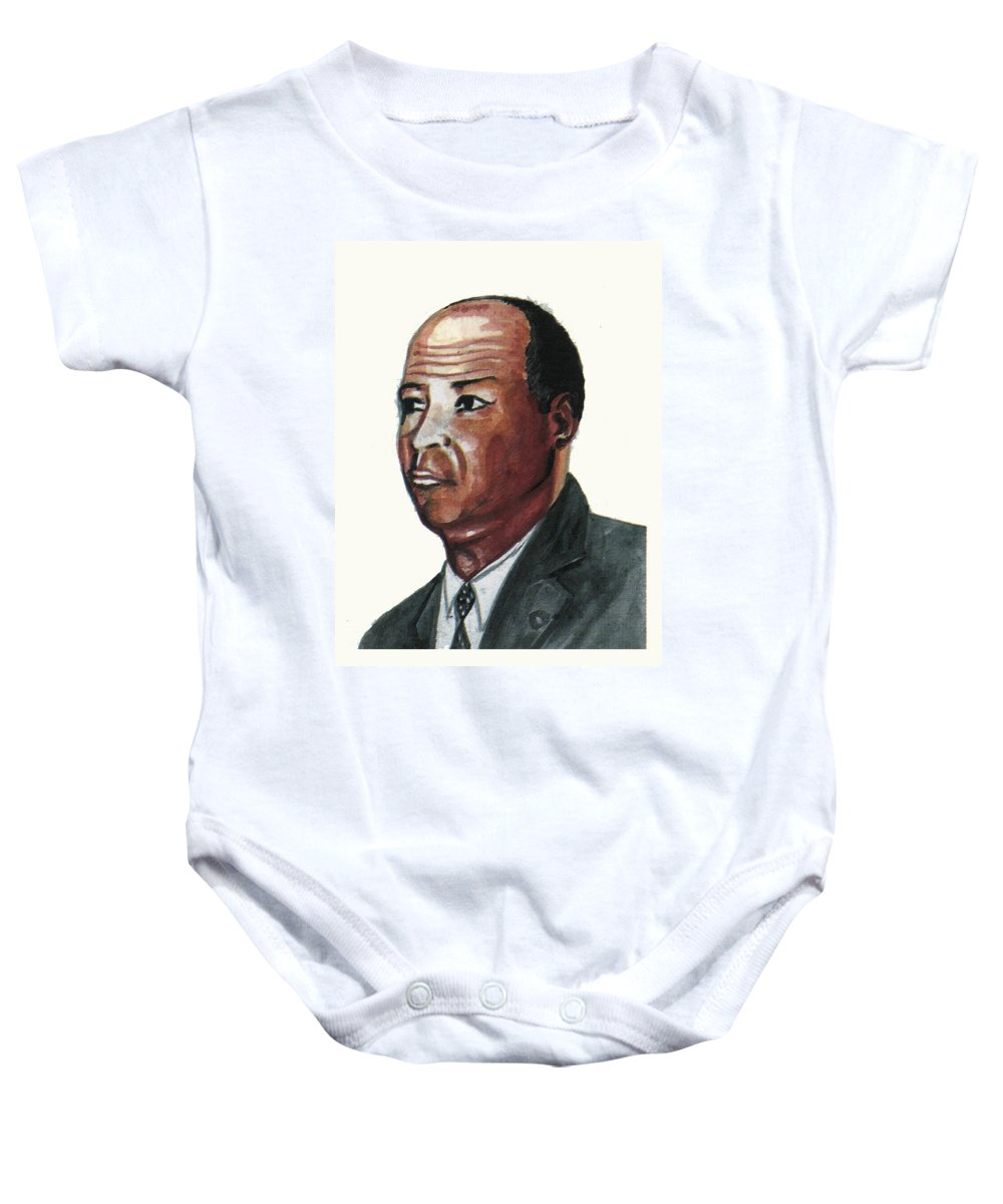 Portraits Baby Onesie featuring the painting Louis Tmpkins Wright by Emmanuel Baliyanga