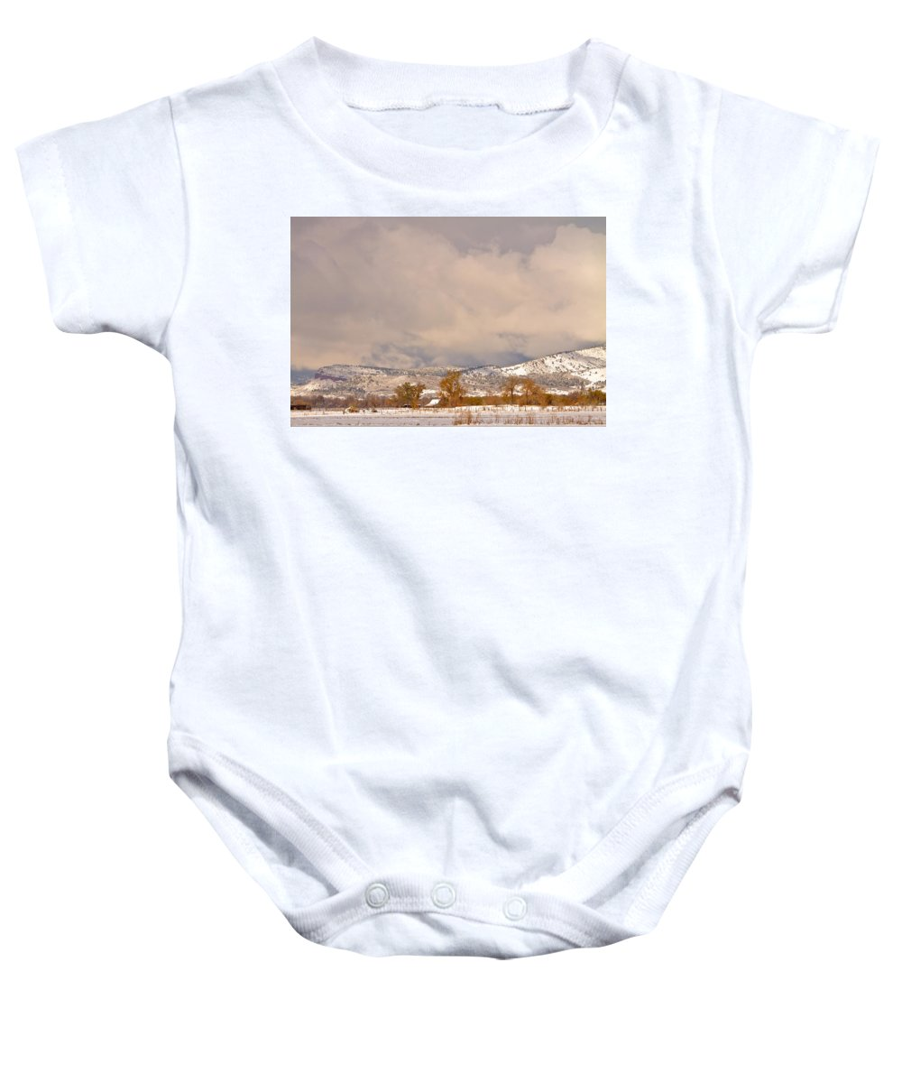 'low Clouds' Baby Onesie featuring the Low Winter Storm Clouds Colorado Rocky Mountain Foothills 5 by James BO Insogna