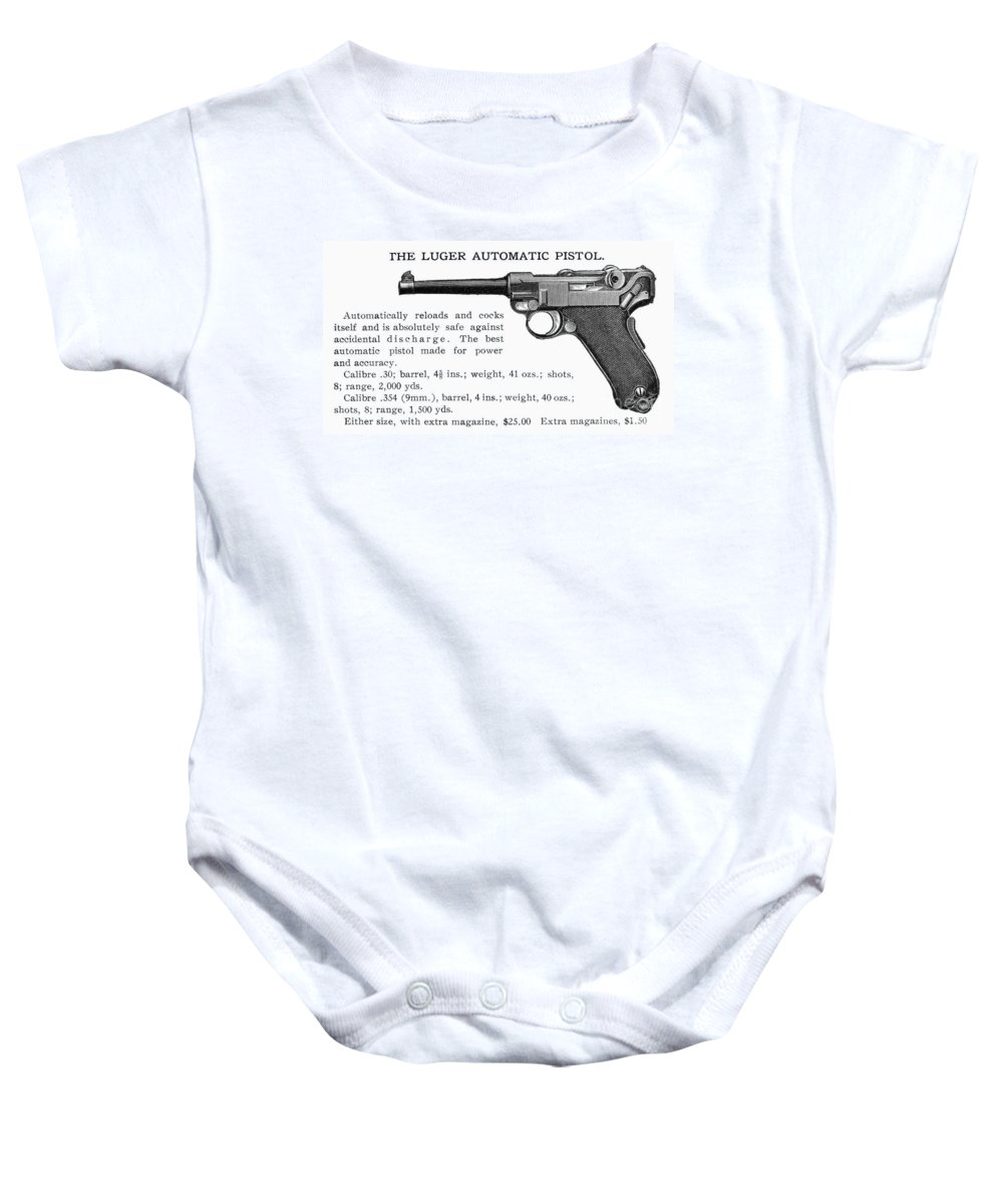 20th Century Baby Onesie featuring the photograph Luger Automatic Pistol by Granger