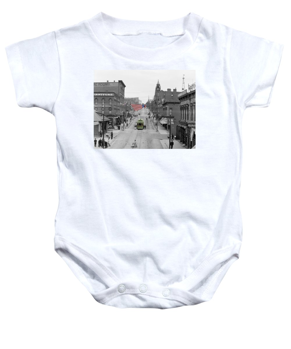 Main Street Baby Onesie featuring the photograph Main Street America by Andrew Fare