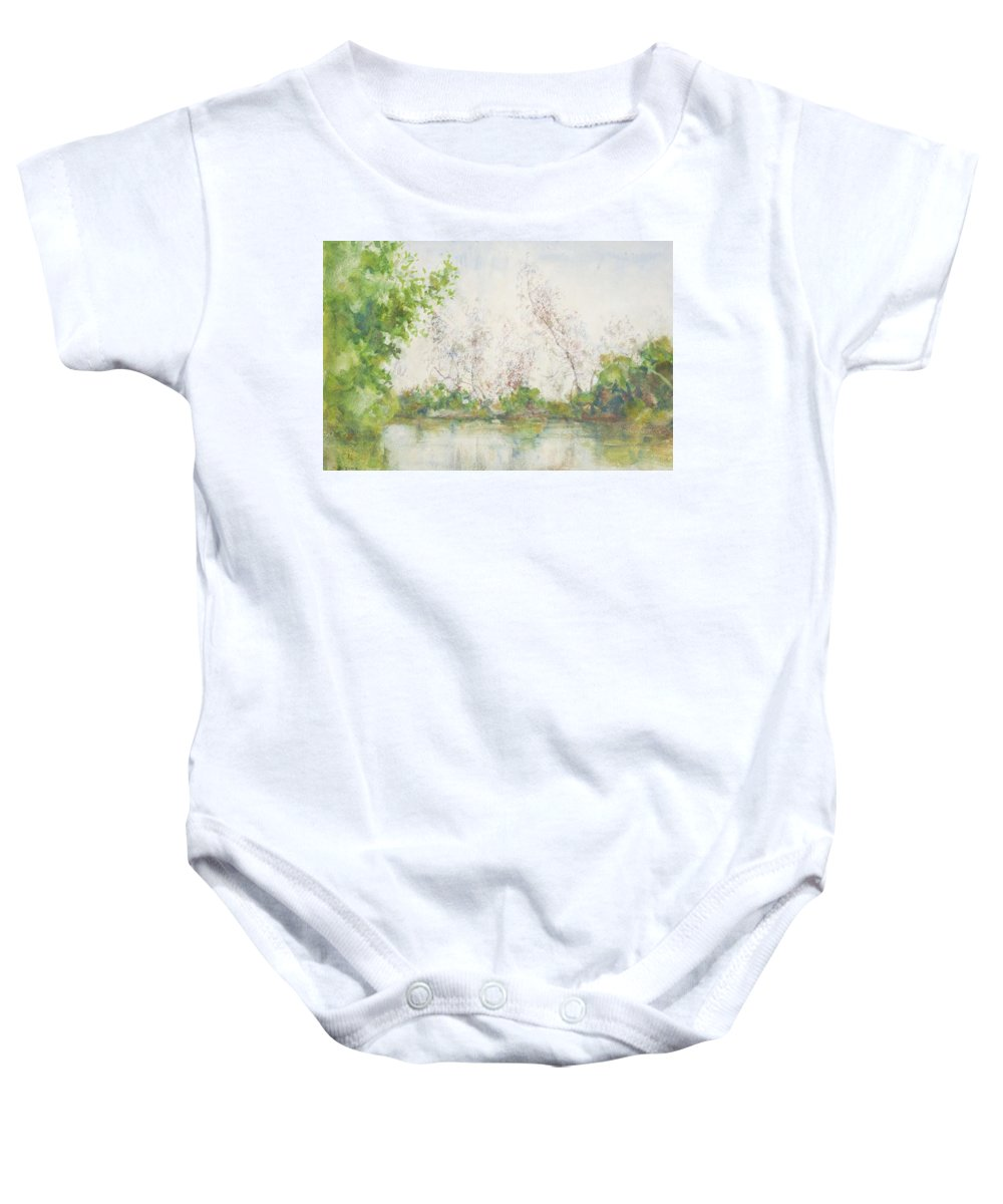 Mangroves; Pond; Reflection; Tropical; Subtropical; Remote; Peaceful; Tranquil; Calm; Newlyn School; Mangrove Swamp Baby Onesie featuring the painting Mangrove Swamp by Henry Scott Tuke
