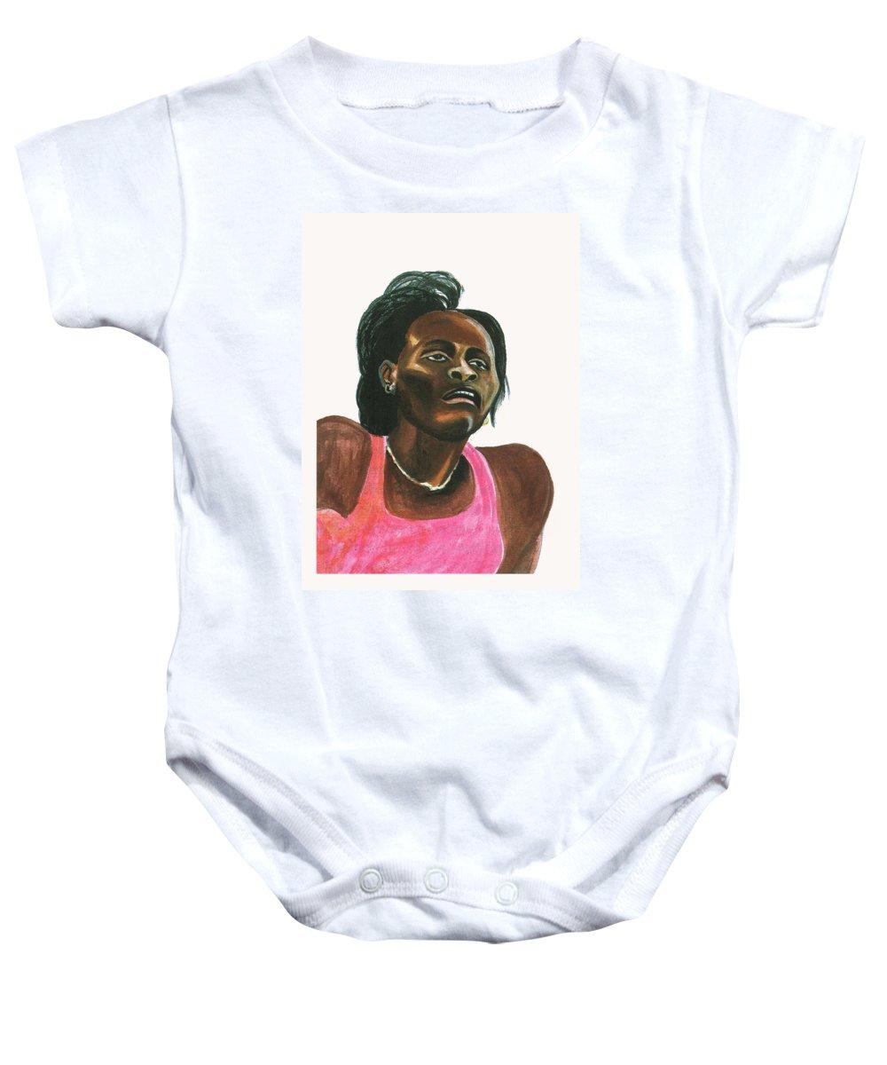Portraits Baby Onesie featuring the painting Maria Mutola by Emmanuel Baliyanga