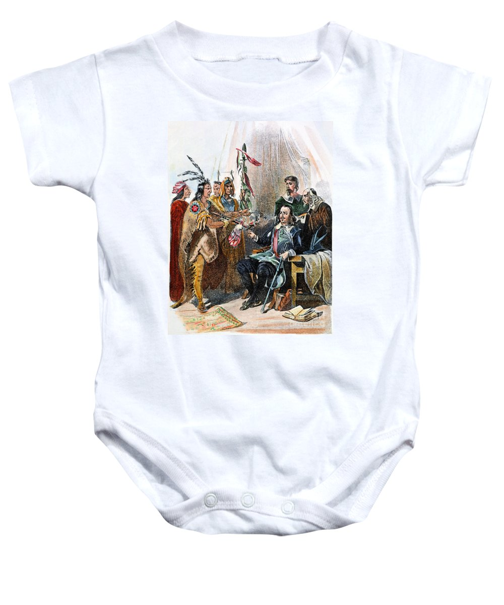 1620 Baby Onesie featuring the photograph Massasoit & Carver, 1620 by Granger
