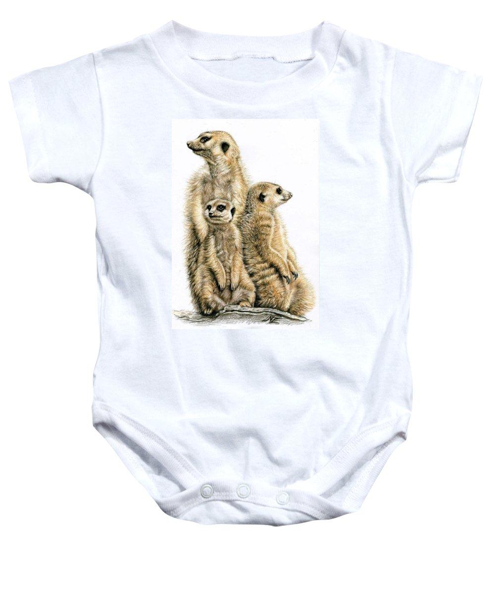 Meerkats Baby Onesie featuring the drawing Meerkats by Nicole Zeug