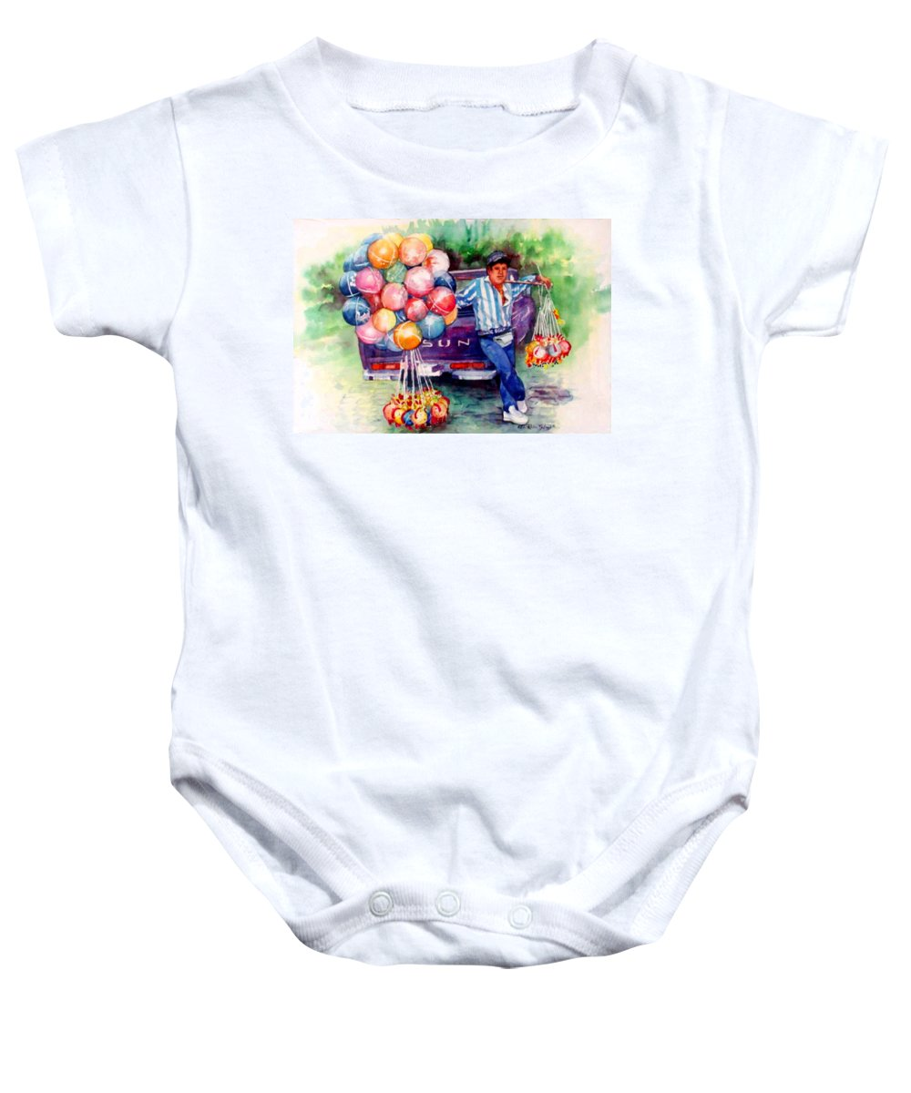 Mexico Paintings Baby Onesie featuring the painting Mexico-globero by Estela Robles