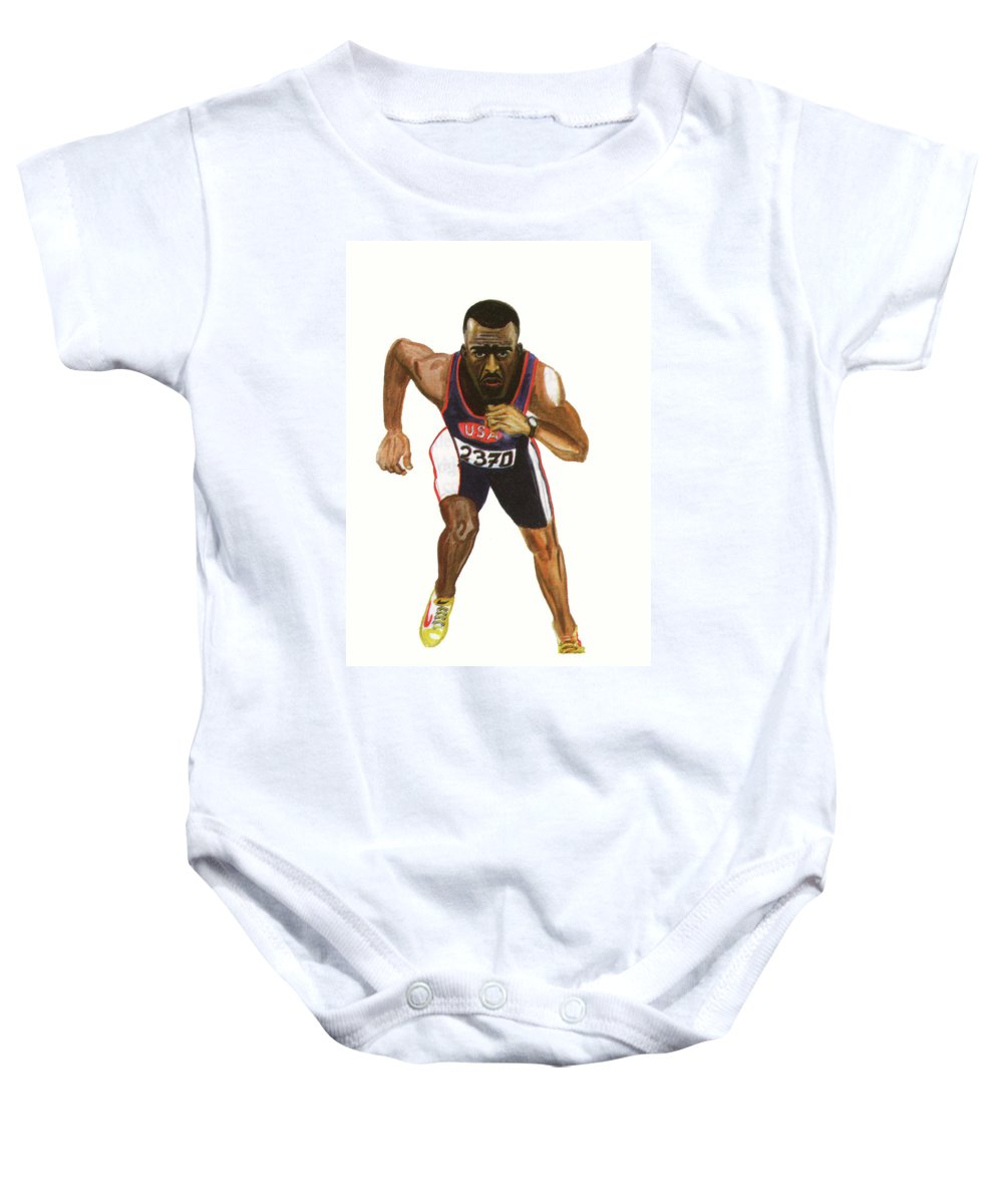 Sports Baby Onesie featuring the painting Michael Johnson by Emmanuel Baliyanga