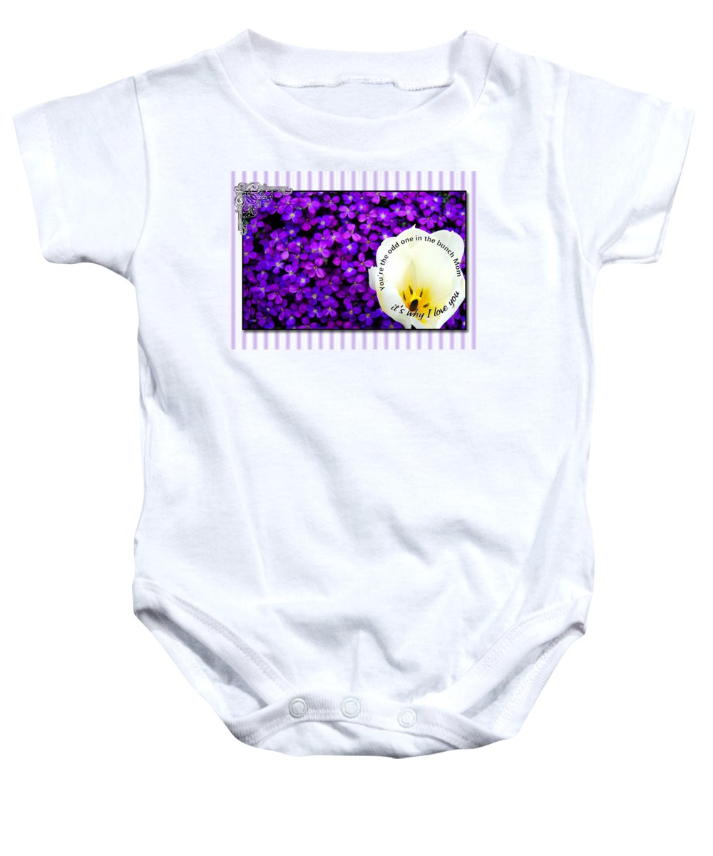 Greeting Card Baby Onesie featuring the digital art Moms Day Humor Card by Susan Kinney