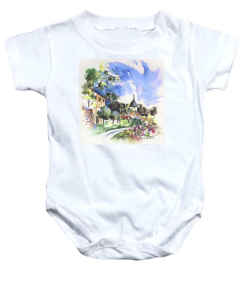 France Baby Onesie featuring the painting Monpazier In France 01 by Miki De Goodaboom