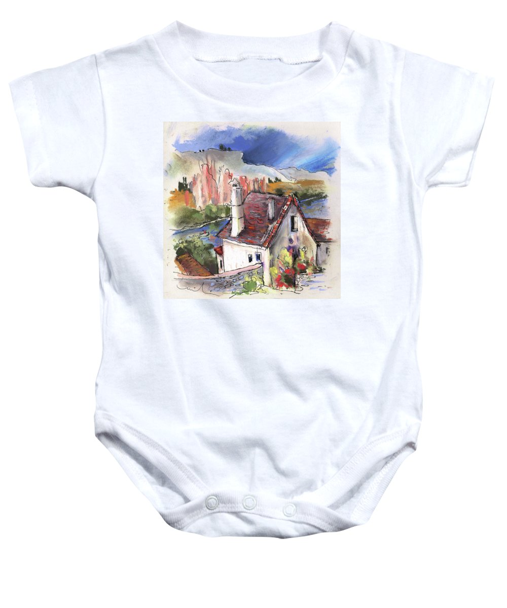 France Baby Onesie featuring the painting Monpazier In France 05 by Miki De Goodaboom
