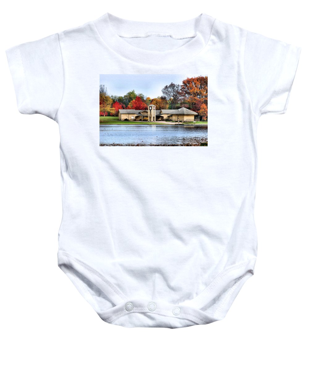Monroe Falls State Park Baby Onesie featuring the photograph Monroe Falls Park by Kristin Elmquist