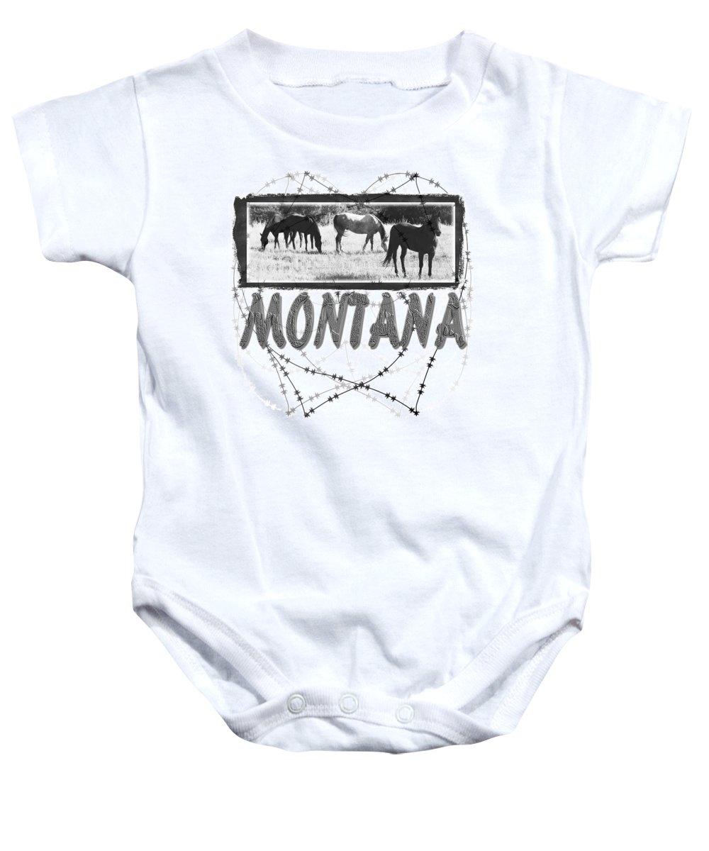 Montana Art Baby Onesie featuring the digital art Montana Horse Design by Susan Kinney