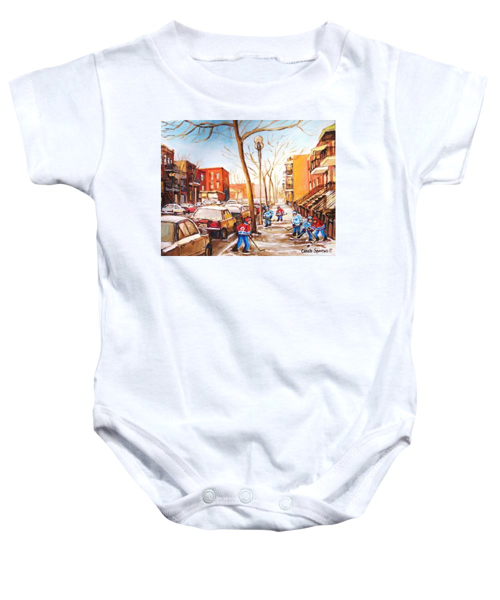 Montreal Street Scene With Boys Playing Hockey Baby Onesie featuring the painting Montreal Street With Six Boys Playing Hockey by Carole Spandau