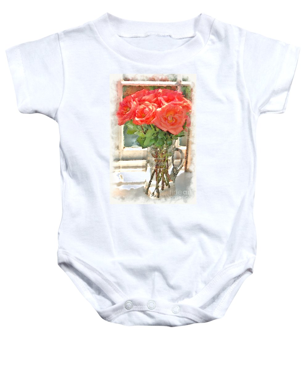 Roses Baby Onesie featuring the photograph Morning Roses by Donna Bentley