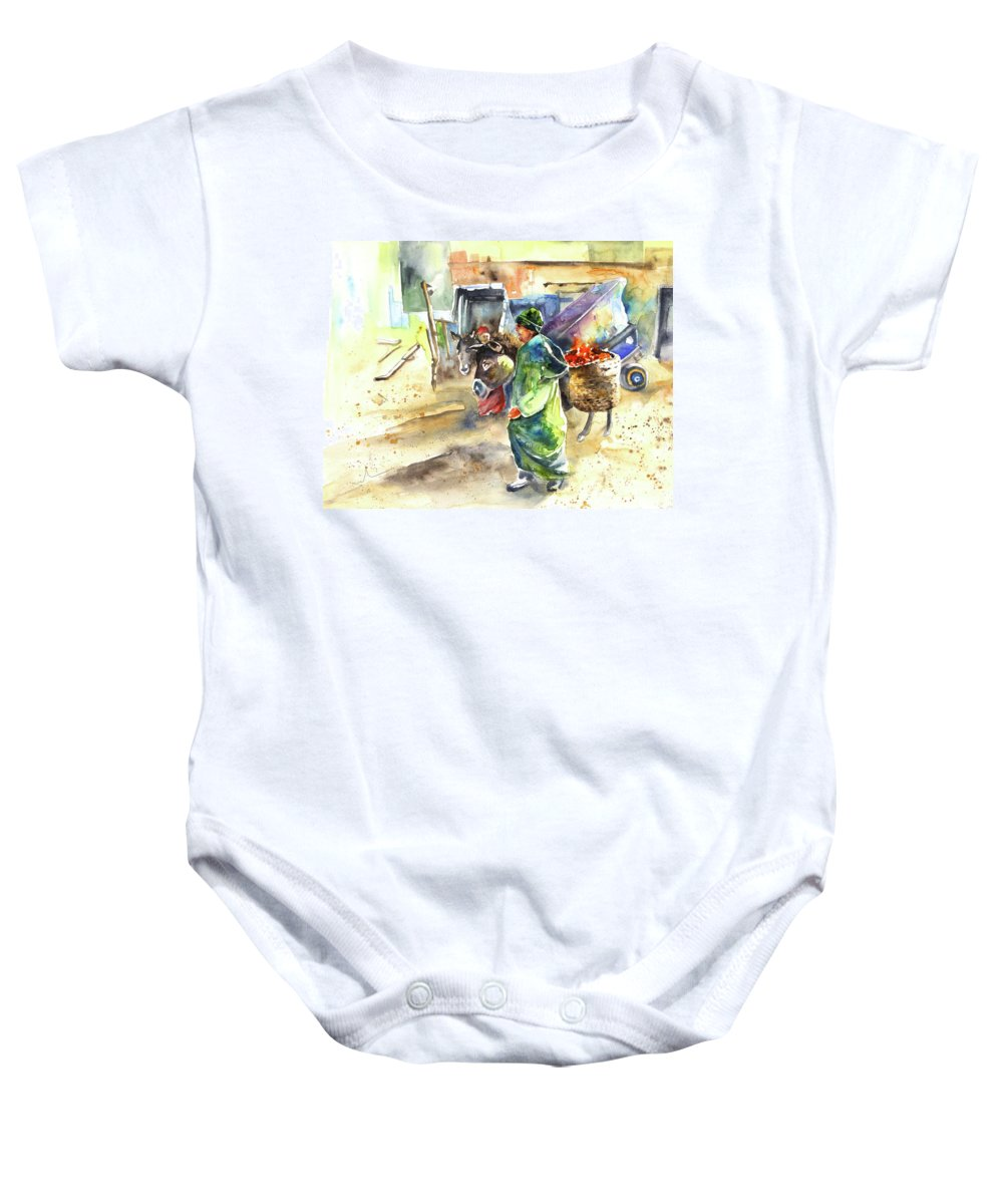 Travel Baby Onesie featuring the painting Morrocan Market 04 by Miki De Goodaboom