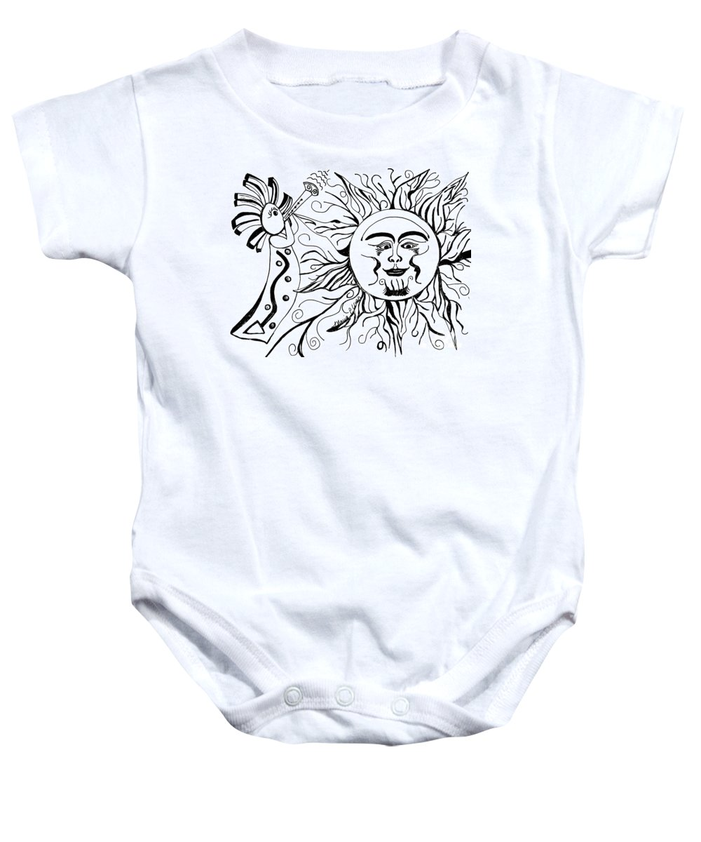 Musical Baby Onesie featuring the drawing Musical Sunrise by Maria Urso