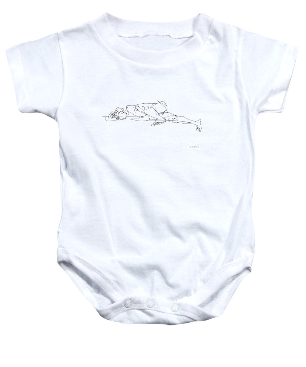 Male Baby Onesie featuring the drawing Naked-man-art-17 by Gordon Punt
