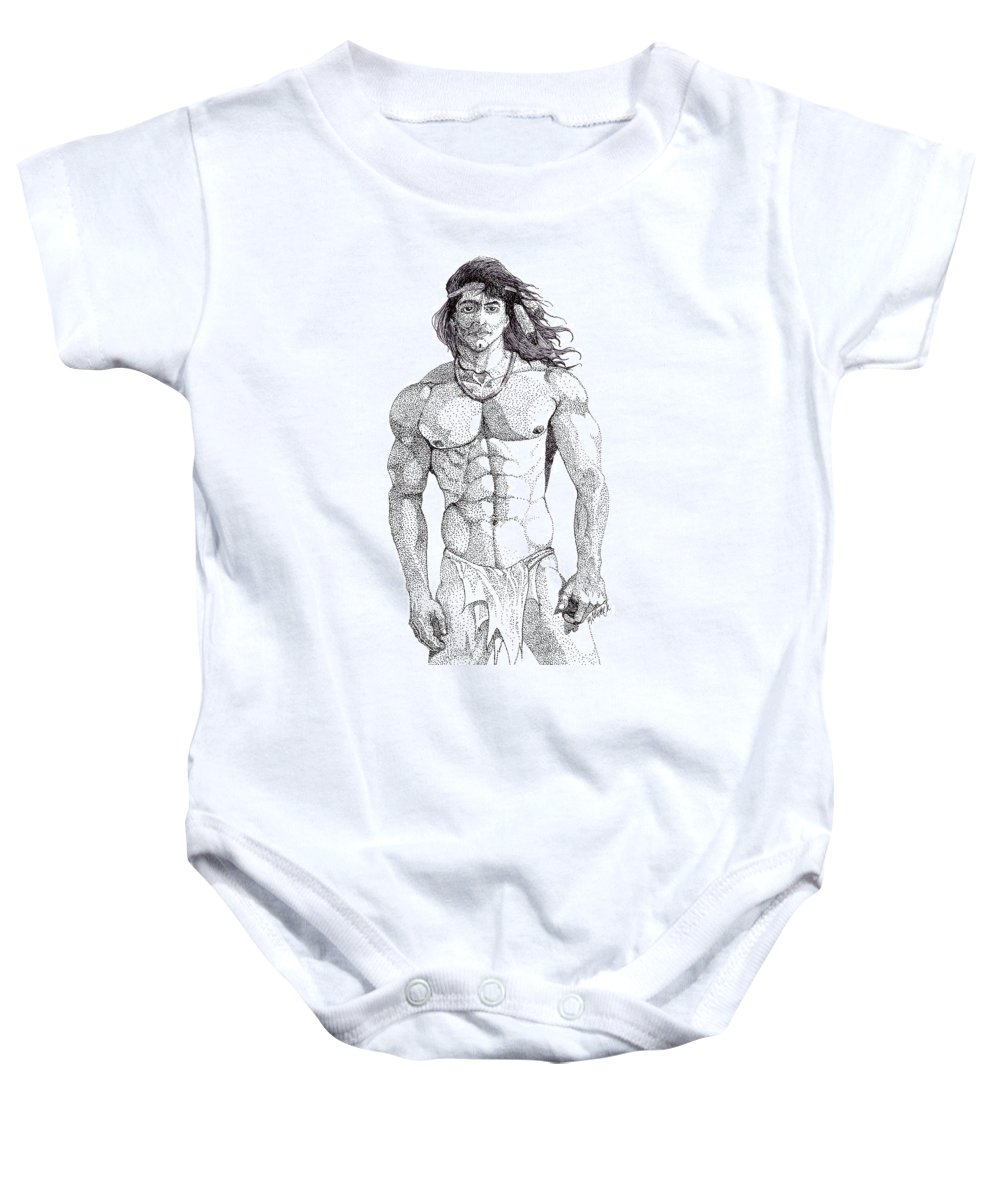 Portrait Baby Onesie featuring the drawing Native American Hunk by William Beyer