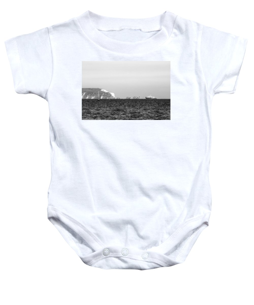 Isle Of Wight Baby Onesie featuring the photograph Needles On The Isle Of Wight As Viewed From Mudeford by Chris Day
