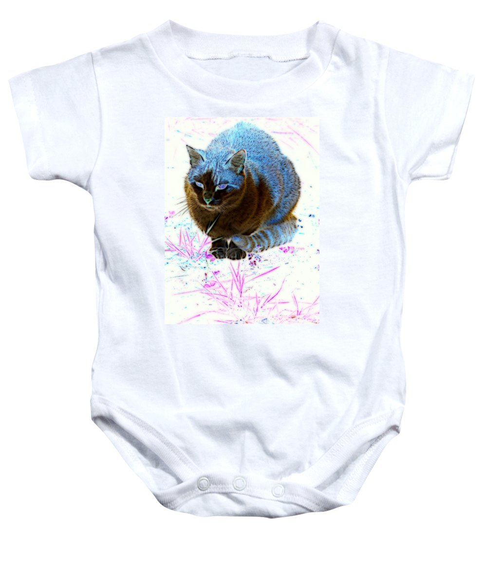 Cat Baby Onesie featuring the digital art New Kitty Blue by Kathy Sampson