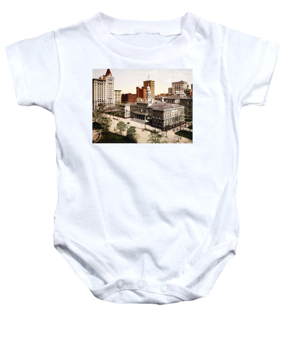 new York City Hall Baby Onesie featuring the photograph New York City Hall - 1900 by International Images