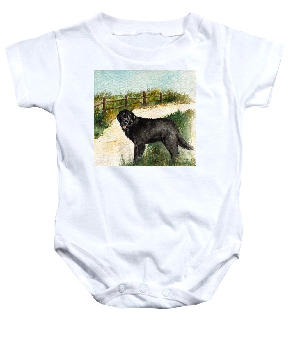 Newfoundland Dog Baby Onesie featuring the painting Newfie by Nancy Patterson