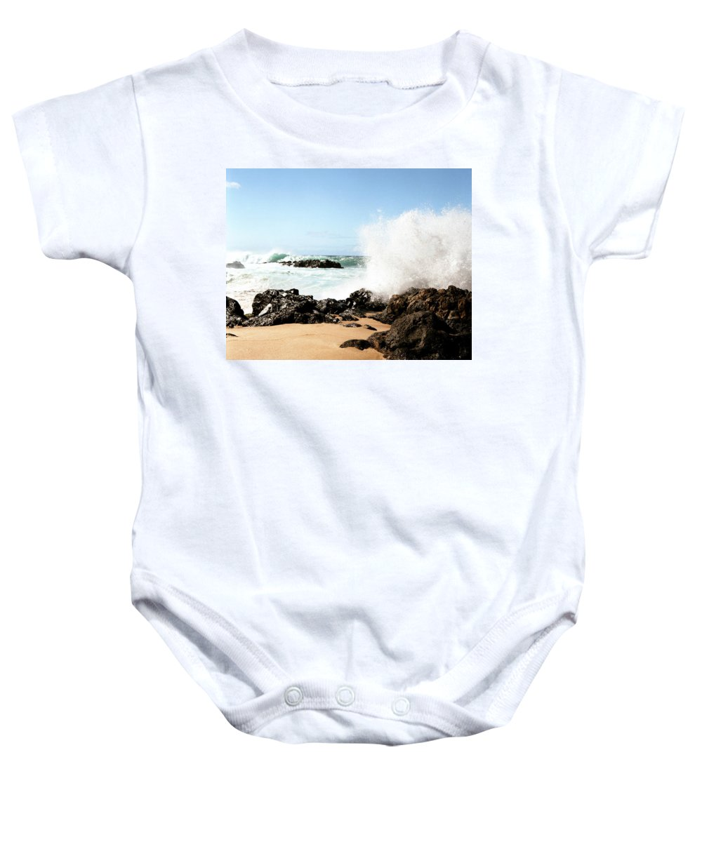 Breaker Baby Onesie featuring the photograph Oahu North Shore Breaker by John Bowers