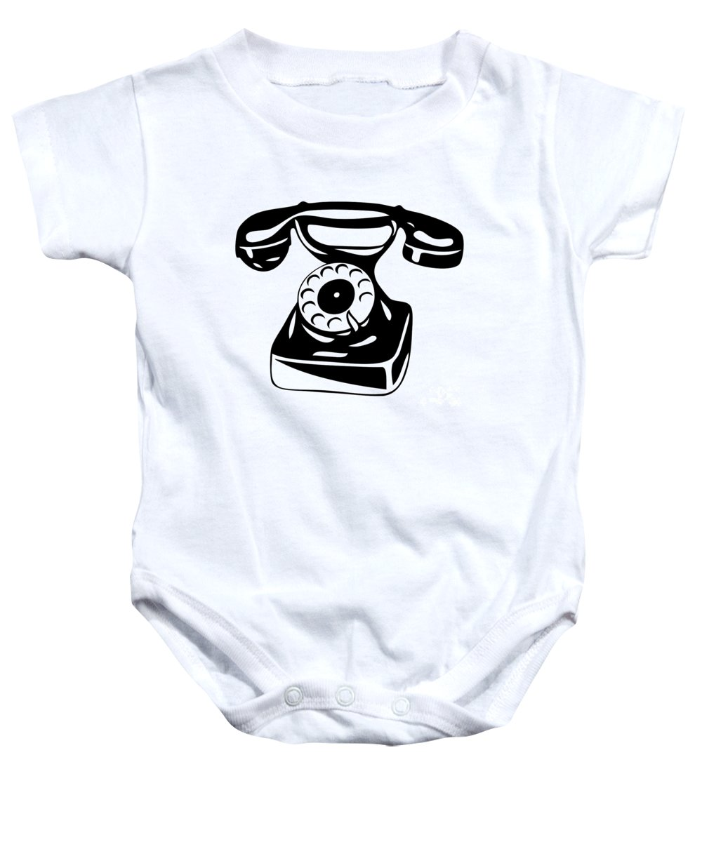 Phone Baby Onesie featuring the drawing Old Analogue Phone by Michal Boubin
