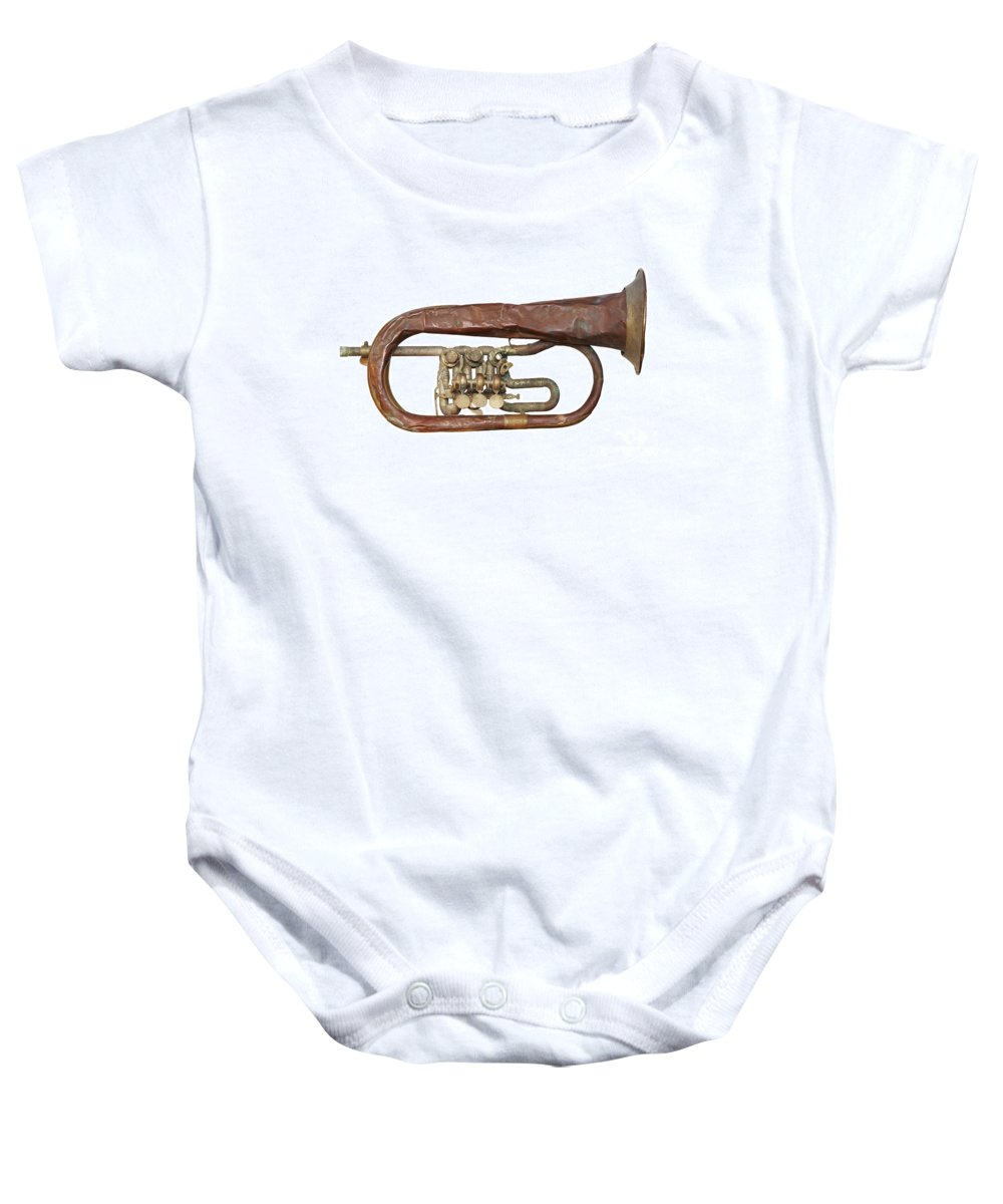 Trumpet Baby Onesie featuring the photograph Old Broken Trumpet - Isolated by Michal Boubin