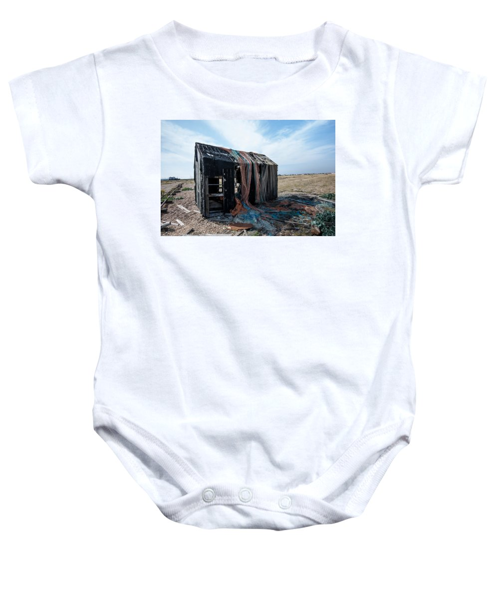 Boat Baby Onesie featuring the photograph Old Fishermans Hut by Dawn OConnor