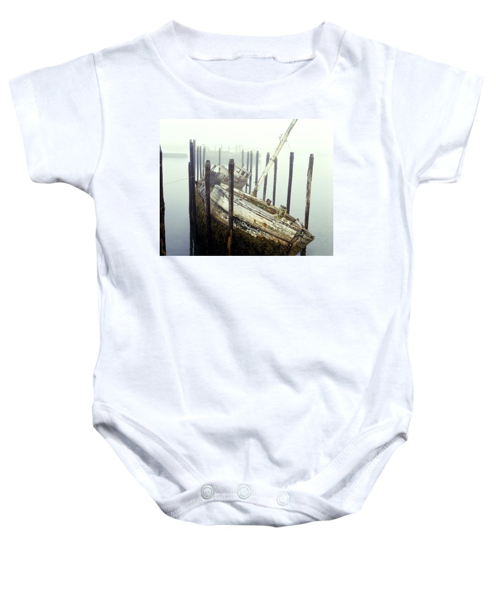 Fog Baby Onesie featuring the photograph Old Fishing Boat No Longer In Use At by David Chapman