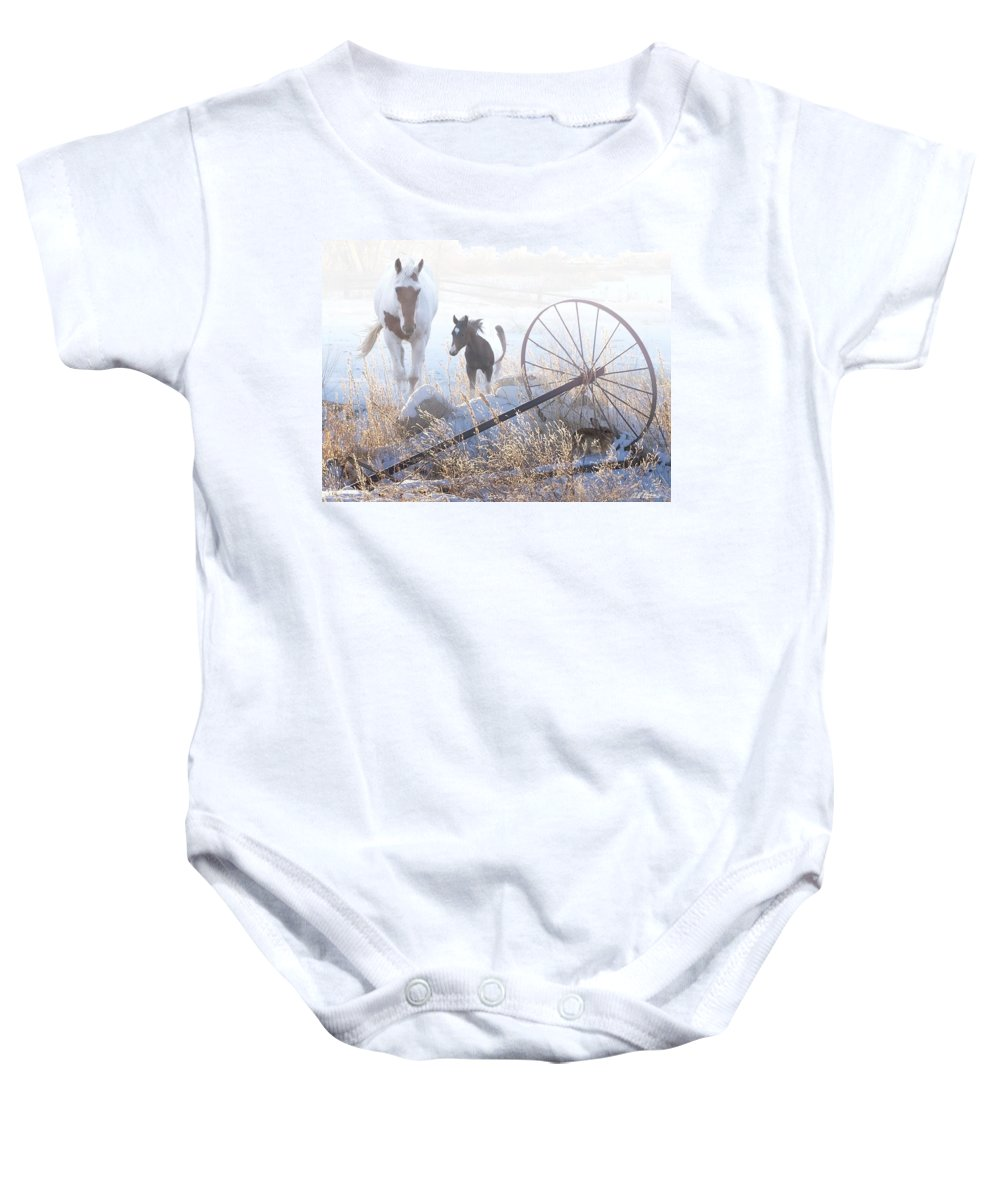 Horses Baby Onesie featuring the digital art On A Winter Day by Bill Stephens