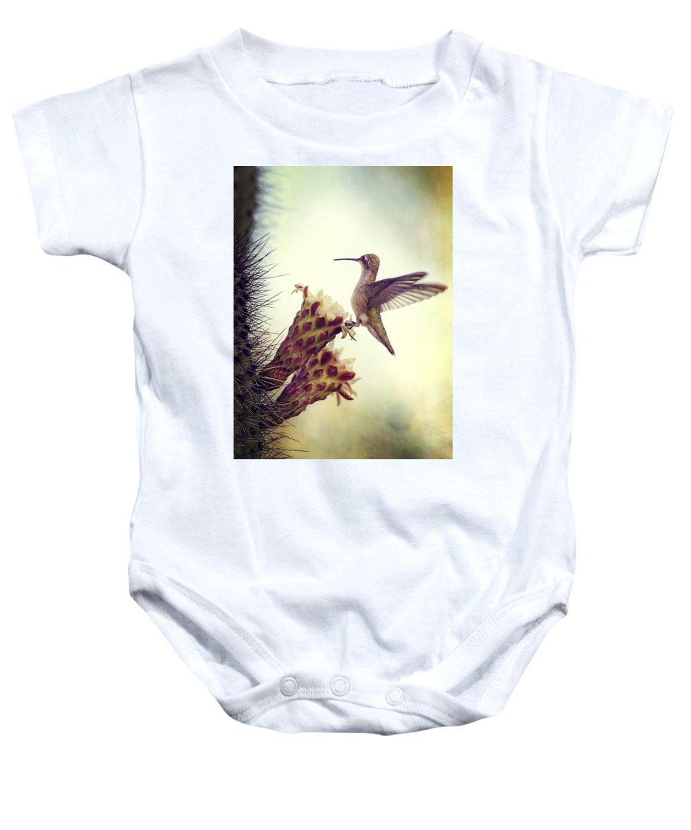 Hummingbird Baby Onesie featuring the photograph On The Edge II by Saija Lehtonen