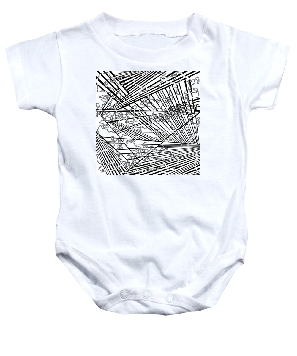 Meditation Labyrinth Baby Onesie featuring the painting One 16 by Douglas Christian Larsen