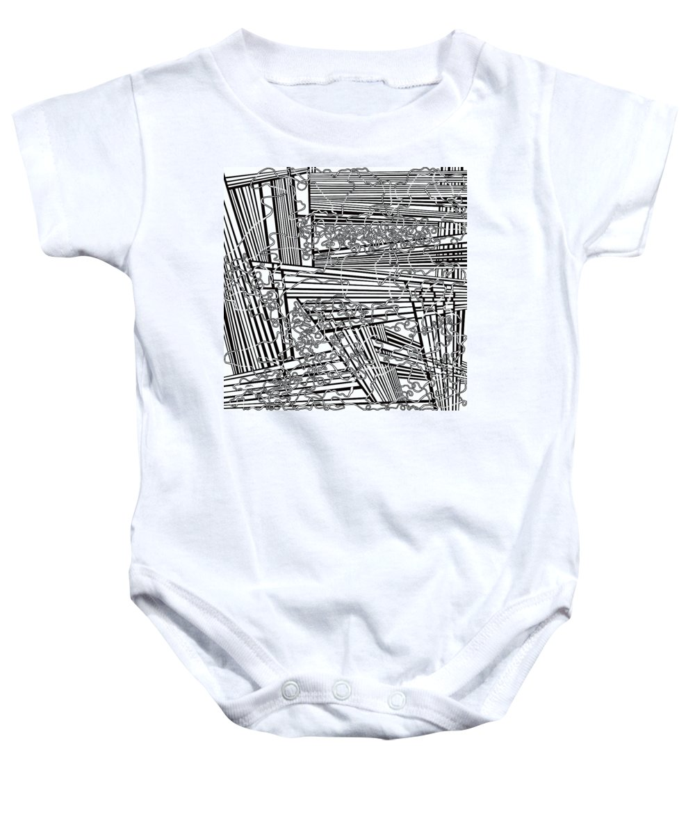 Meditation Labyrinth Baby Onesie featuring the painting One 19 by Douglas Christian Larsen